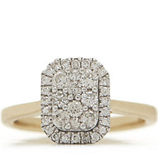 0.50ct Diamond Halo Cluster Ring 9ct Gold