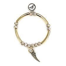 Bibi Bijoux Wing & Crystal Charm Bead & Bar Bracelet