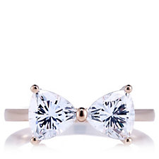 Diamonique 2.2ct tw Trillion Cut Bow Ring Sterling Silver
