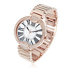 Bronzo Italia Round Crystal Face Bracelet Watch