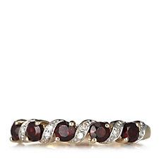 0.6ct Garnet & Diamond Accent 5 Stone Ring 9ct Gold