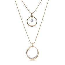 Frank Usher Set of 2 Crystal Circular Pendant Necklaces