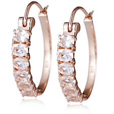 1.7ct Morganite 6 Stone Huggie Earrings Rose Gold Vermeil Sterling Silver