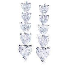 308347 - Michelle Mone for Diamonique 12ct tw Heart Cut Drop Earrings Sterling Silver