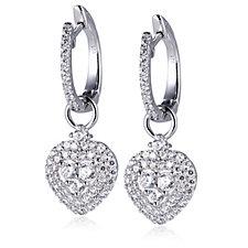 Diamonique by Andrea McLean 2.3ct tw Heart Hoop Earrings Sterling Silver