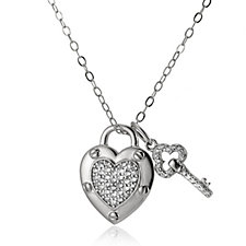 Diamonique by Andrea McLean 0.3ct tw Heart Pendant & Chain Sterling Silver