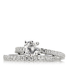 Diamonique 2.9ct tw Set of 2 Rings Sterling Silver