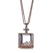 Frank Usher Perfume Bottle Pendant with Pave Crystals & 80cm Chain