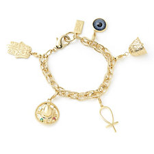 Elizabeth Taylor Simulated Gemstone & Charm 19cm Bracelet