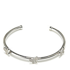 Diamonique by Andrea McLean 0.3ct tw Butterfly Bangle Sterling Silver