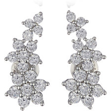 309448 - Diamonique 1.4ct tw Flower Earclimbers Sterling Silver