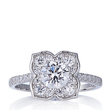 309548 - Diamonique 1.5ct tw Flower Ring Sterling Silver