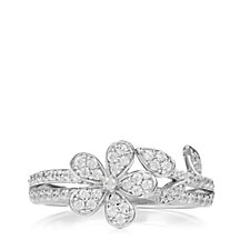 Diamonique by Andrea Mclean 0.7ct tw Flower Ring Sterling Silver