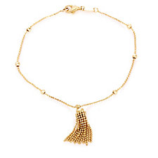 9ct Gold Tassel Bead Station 19cm Bracelet