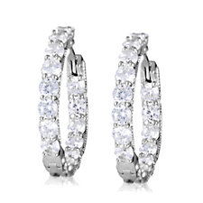 313648 - Diamonique 3ct tw Front & Back Hoop Earrings Sterling Silver