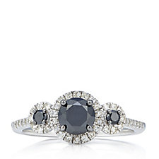 1.15ct Black & White Treated Diamond Trilogy Halo Ring Sterling Silver