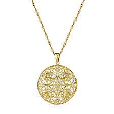 Veronese Openwork Crystal Pendant & 76cm Chain Sterling Silver