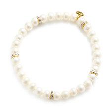 K by Kelly Hoppen Cultured Pearl White Topaz Stretch Bracelet Sterling Silver