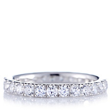 Diamonique 1.2ct tw Textured Full Eternity Ring Sterling Silver