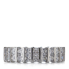 Diamonique 4.4ct tw Princess Cut Band Ring Sterling Silver