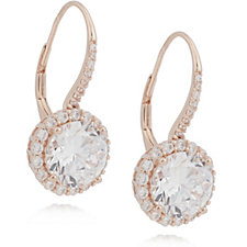 Michelle Mone for Diamonique 6.8ct tw Halo Leverback Earrings Sterling Silver