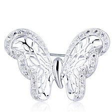 Diamonique 0.6ct tw Bufferfly Brooch Sterling Silver