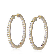 Diamonique 1.4ct tw Pave Front & Back Hoop Earrings Sterling Silver
