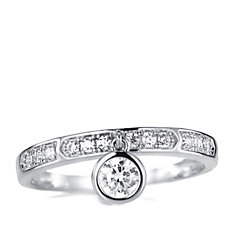 Diamonique 0.3ct tw Charm Band Ring Sterling Silver