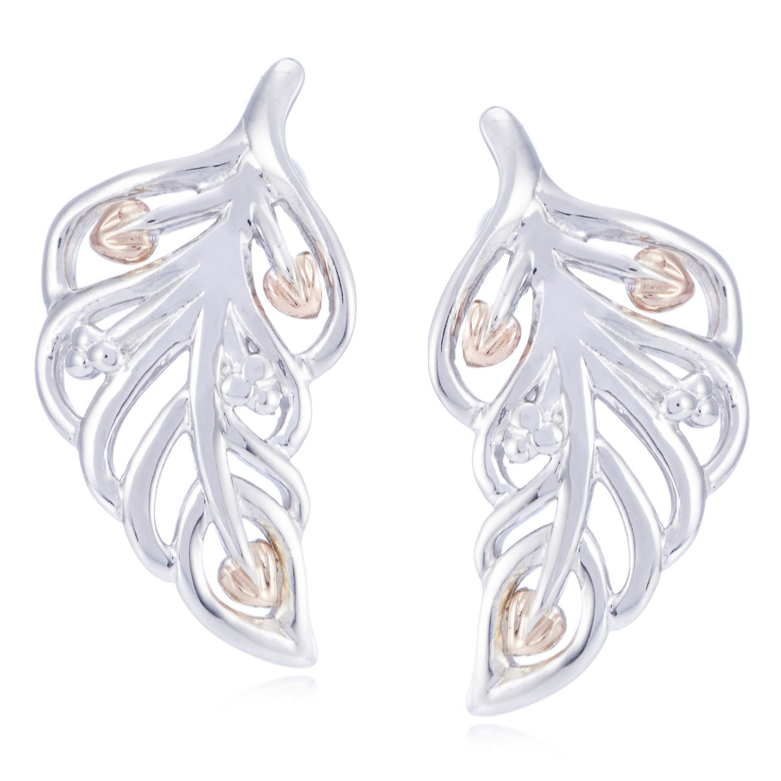Clogau 9ct Rose Gold & Sterling Silver Debutante Feather Earrings  313250