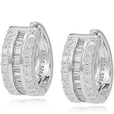 322250 - Diamonique 1.6ct tw Baguette Hoop Earrings Sterling Silver