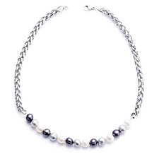 Honora 8-9mm Cultured Pearl 45cm Necklace Stainless Steel