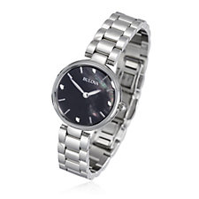 Bulova Ladies Diamond Set Stainless Steel Black Dial Watch
