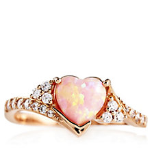 Diamonique 1.7ct tw Pink Opal Heart Ring Sterling Silver