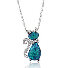 Diamonique 0.1ct tw Simulated Opal Cat Pendant & 45cm Chain Sterling Silver