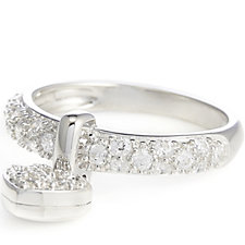 Diamonique 0.5ct tw Pave Charm Ring Sterling Silver