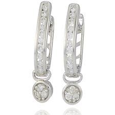 0.3ct Diamond Huggie Hoop Drop Charm Earrings 9ct Gold