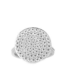 Diamonique 1.2ct tw Pave Disc Ring Sterling Silver