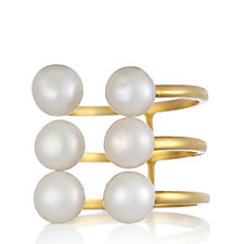 K by Kelly Hoppen Cultured Pearl Clasp Ring 18ct Gold Vermeil Sterling Silver