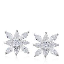 Diamonique 3.12ct tw Flower Stud Earrings Sterling Silver