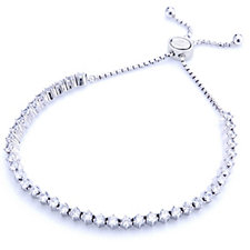 Diamonique 4ct tw 6 Prong Tennis Slider Bracelet Sterling Silver