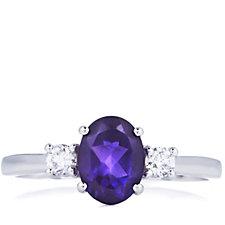 1.15ct Amethyst & 0.2ct Diamond Trilogy Ring 9ct White Gold