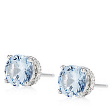 Diamonique 3.8ct tw Round Stud Earrings with Side Design Sterling Silver