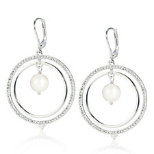 K by Kelly Hoppen Cultured Pearl White Topaz Mesmerist Earrings Sterling Silver