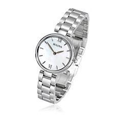 Bulova Ladies Mother of Pearl Stainless Steel Dress Watch