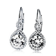 Michelle Mone for Diamonique 4ct tw Blossom Leverback Earrings Sterling Silver
