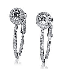 Diamonique 1.4ct tw Halo Hoop Earrings Sterling Silver