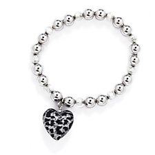 Murano Glass Jungle Heart Charm Bead Stretch Bracelet