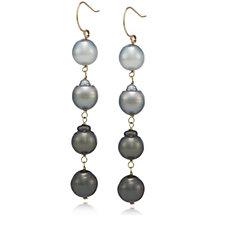 9-11mm Cultured Semi Baroque Tahitian Pearl Drop Earrings 14ct Gold