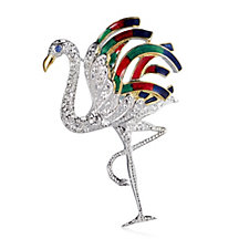 Bill Skinner Pave & Enamel Flamingo Brooch