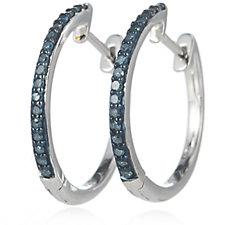 0.2ct Diamond Huggie Hoop Earrings Sterling Silver